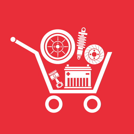 Auto parts in the supermarket trolley, Symbol of car parts store. Ilustração