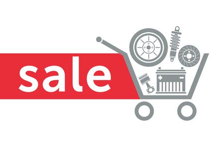 Imagen para la venta en la tienda de autopartes. Piezas de automóvil en el carrito de supermercado. Foto de archivo - 85344705