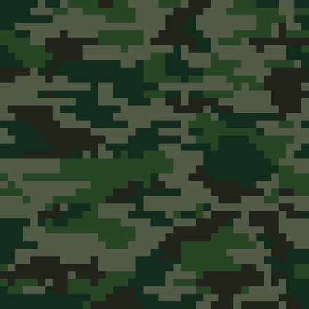 Digital pixel camouflage seamless pattern. Vector Texture in green colour