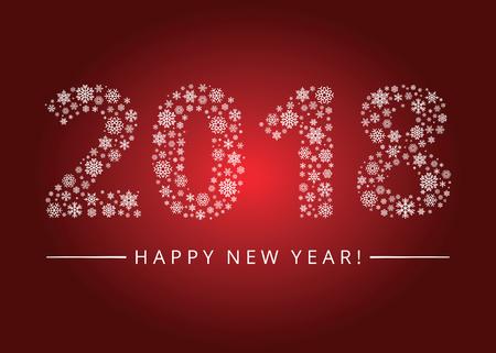 calendar design: Happy New Year 2018 greeting card. Snowflake background