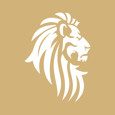 Vector lion head image. Heraldic sign in the form of a lion. Template for a business or financial company