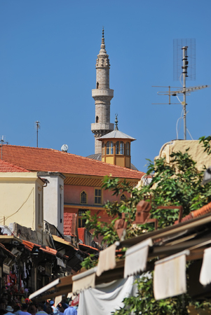 View of the street of Socrates, Suleiman Mosque and Aga Camii Mosque. Old town of Rhodes, Greece. September, 2017