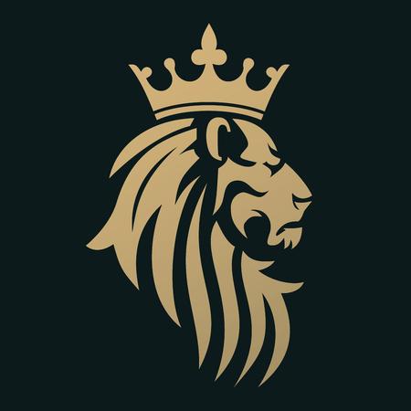 Um leão dourado com uma coroa. Emblema para uma marca de luxo ou empresa comercial. Um símbolo da realeza. Foto de archivo - 91170056