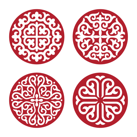 Traditional ornament of Asian nomads: Mongols, Kazakhs, Kirghiz, Bashkirs, Tatars.