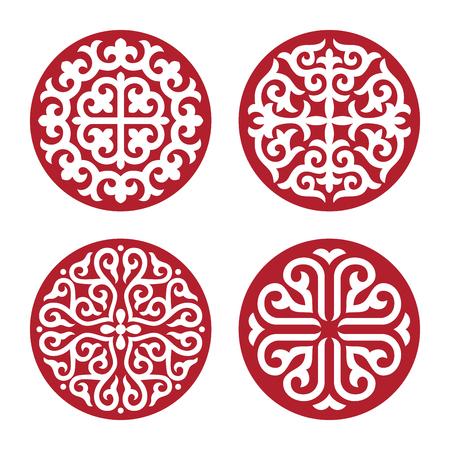 Traditional ornament of Asian nomads: Mongols, Kazakhs, Kirghiz, Bashkirs, Tatars. Imagens - 92041048