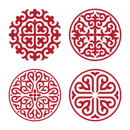 Traditional ornament of middle Asia for decoration of clothes and yurts. Nomadic ornament.