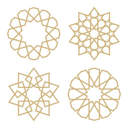 Um conjunto de estrelas no estilo árabe. Padrão geométrico na forma de estrelas islâmicas tradicionais Ilustración de vector