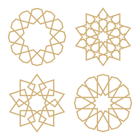 A set of stars in the Arab style. Geometric pattern in the form of traditional Islamic stars