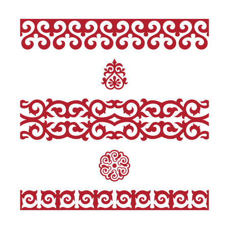 Traditional ornament of middle Asia for decoration of clothes and yurts, nomadic ornament. Ilustracja