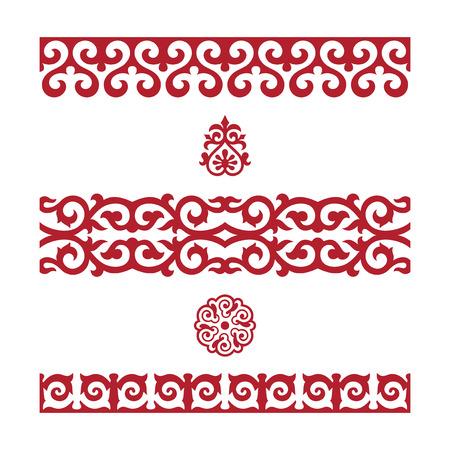 Traditionelle Verzierung von Mittelasien für Dekoration von Kleidung und von Jurten, nomadische Verzierung.