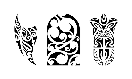 Set of polynesian tattoo. Traditional maori tribal ornaments. Vector pattern illustration.