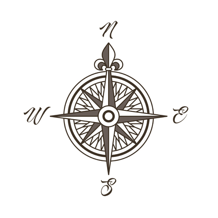 Vintage nautical compass rose vector illustration of wind rose in retro style.