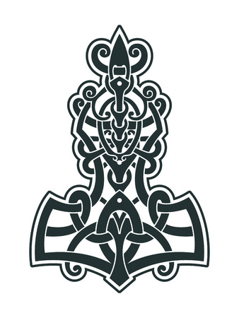A symbol of Scandinavian mythology. Viking style tattoo. Scandinavian knots Vector illustration.