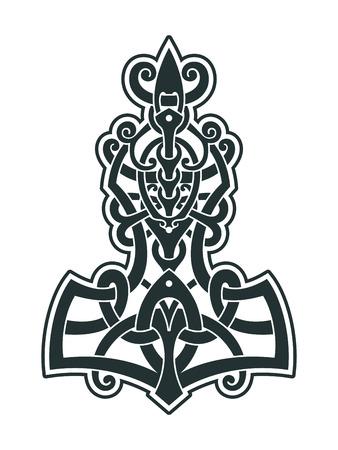 Un símbolo de la mitología escandinava. Tatuaje de estilo vikingo. Nudos escandinavos ilustración vectorial. Ilustración de vector