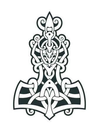 Mjollnir Thor's hammer is an amulet of Vikings. A symbol of Scandinavian mythology. Viking style tattoo. Scandinavian knots Vector illustration. Vectores