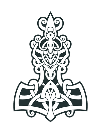 Mjollnir Thor's hammer is an amulet of Vikings. A symbol of Scandinavian mythology. Viking style tattoo. Scandinavian knots Vector illustration. 일러스트