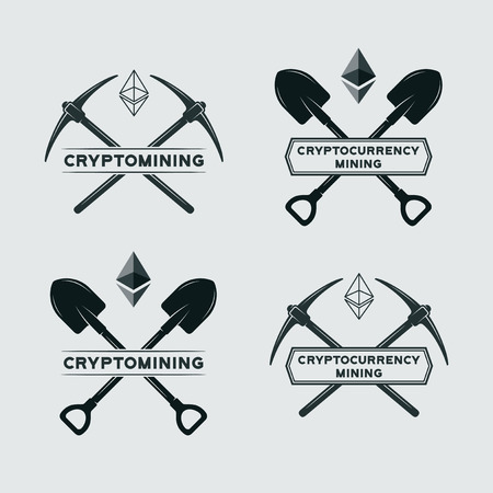 Ethereum mining symbol. Vector cryptocurrency mining emblem. Vector mining with shovel and pickaxe