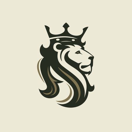 The head of a lion with a royal crown. Vector illustration or template for business