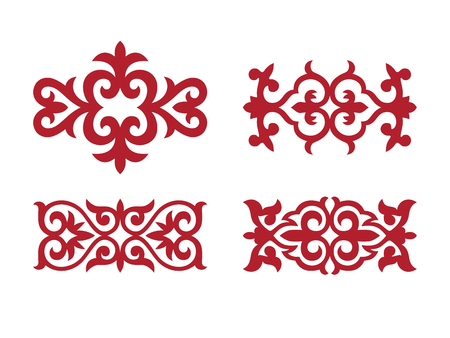 Ornamento tradizionale dell'Asia centrale per la decorazione di vestiti e yurte. Ornamento nomade.