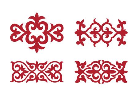 Traditionelle Verzierung Mittelasiens zur Dekoration von Kleidern und Jurten. Nomadische Verzierung.