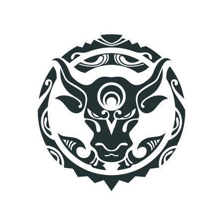 Tattoo of a bull in Polynesian style. Vector illustration. Traditional Maori Taniwha tattoo design