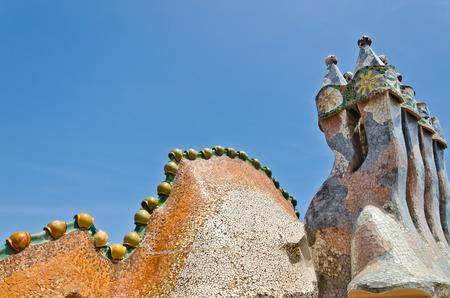 Roof, housetop Gaudi's creation-house Casa Batlo. Barcelona, june 2014