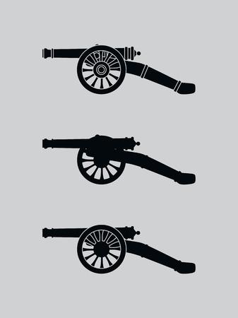 Vector image of a vintage gun. Vector retro cannon