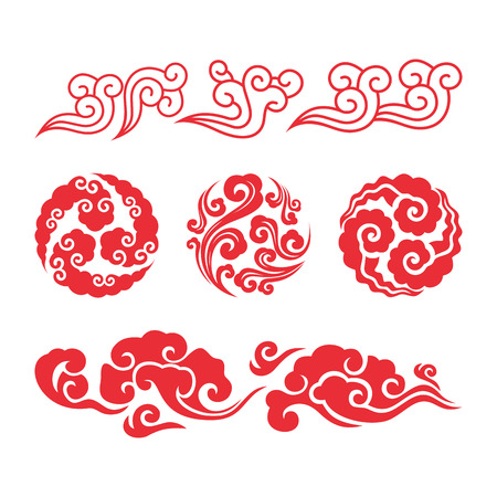 Chinese clouds. Asian swirl cloud set. Vector chinese or japanese water clouds graphic set