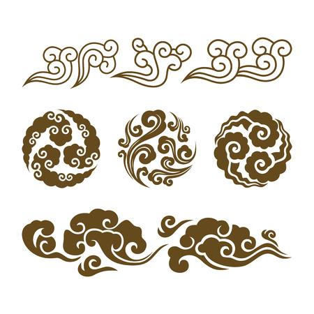 Nuages chinois. Ensemble de nuages tourbillonnants asiatiques. Ensemble graphique de nuages d'eau chinois ou japonais de vecteur