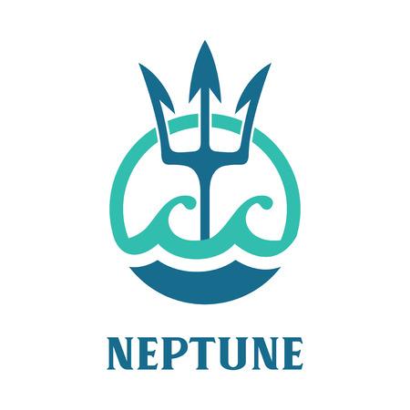 Vector image of Neptune's Trident. Neptune template logo design. Stock Illustratie