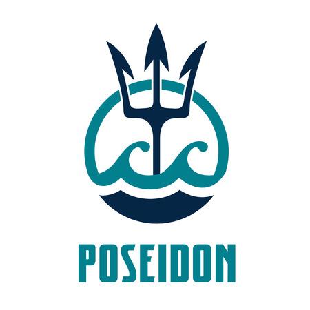 Vector de la imagen del tridente de Poseidón. Diseño de logotipo de plantilla de Poseidón.