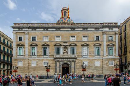 Palau de la Generalitat de Catalunya on the square of Sant Jaume. June 2014, Barcelona Editöryel