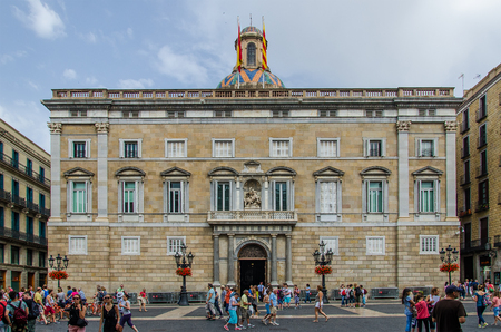 Palau de la Generalitat de Catalunya on the square of Sant Jaume. June 2014, Barcelona 報道画像