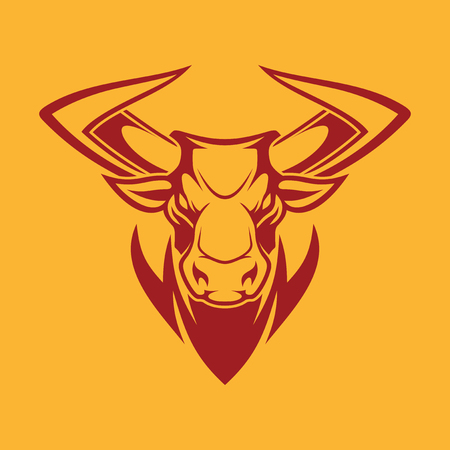 Vector image of an angry bull head with big horns. Sport emblem with the head of a bull.