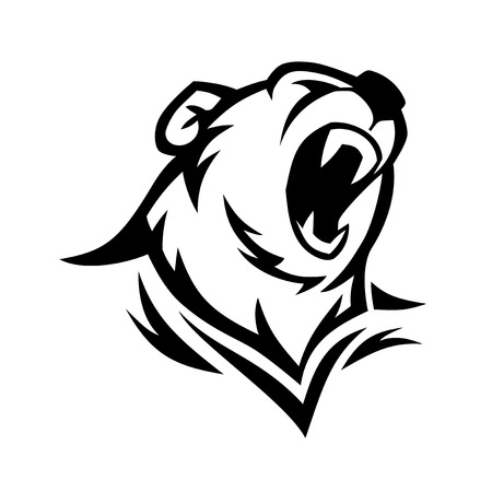 Angry bear head vector image. Grizzly with big teeth.