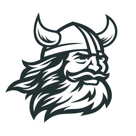 Imagen vectorial de cabeza de vikingo. Cabeza de guerrero vikingo barbudo con casco con cuernos.