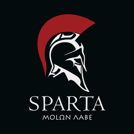 Helmet of the ancient Spartan warrior. Sparta symbol vector image