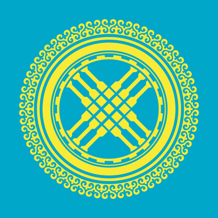 Shanyrak, tundyuk, toono - a constructive element crowning the dome of the yurt. Traditional ornament of Asian nomads: Mongols, Kazakhs, Kirghiz, Bashkirs, Tatars. Ilustração