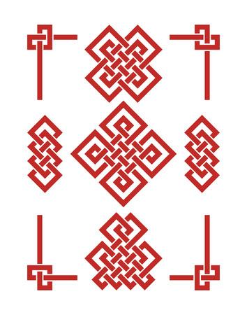Set di nodi di buon auspicio senza fine. Ornamento cinese - simbolo del Tibet, dell'eterno, del buddismo e della spiritualità. Elemento Feng Shui, ornamento geometrico. Geometria sacra. Vettoriali