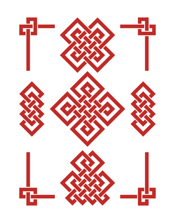 Endless Auspicious knots set. China ornament - symbol of Tibet, Eternal, Buddhism and Spirituality. Feng Shui element, geometric ornament. Sacred geometry. Illustration