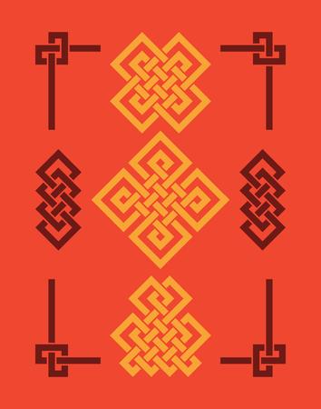 Ensemble de nœuds de bon augure sans fin. Ornement de la Chine - symbole du Tibet, de l'éternel, du bouddhisme et de la spiritualité. Élément Feng Shui, ornement géométrique. Géométrie sacrée.