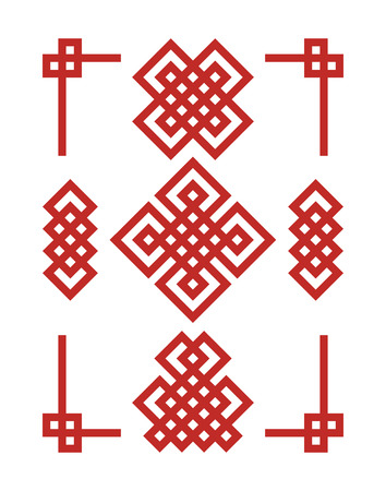 Endless Auspicious knots set. China ornament - symbol of Tibet, Eternal, Buddhism and Spirituality. Feng Shui element, geometric ornament. Sacred geometry. Illustration
