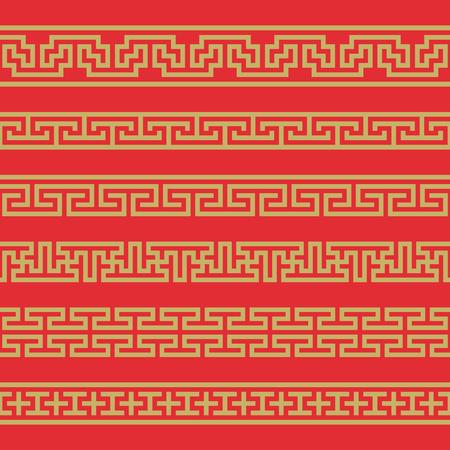 Set of vector korean borders. Asain pattern, pattern fills, web page.