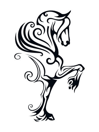 Pegasus winged horse. Vector Image of Pegasus in Tribal Style. Ilustrace