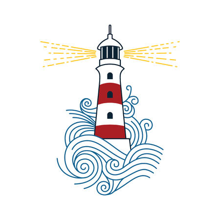 Roter und weißer Leuchtturm zwischen den Wellen des Meeres. Vektorbild eines Leuchtturms. Vektorgrafik
