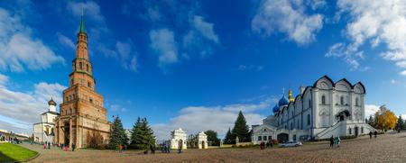 Suyumbike Tower also called the Khans Mosque, the Kazan Kremlin panorama. Suyumbike Tower the landmark and architectural symbol of Kazan Kremlin. Tatarstan. November 2018, Kazan, Russia