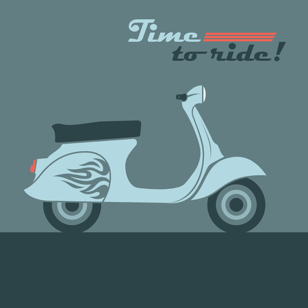 Retro scooter vector image. Vintage moped - a popular vehicle in the cities of Italy