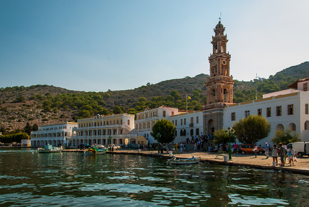 The Monastery of Archangel Michael in the village of Panormitis on the Greek Island Symi. September 2018, Symi, Greece
