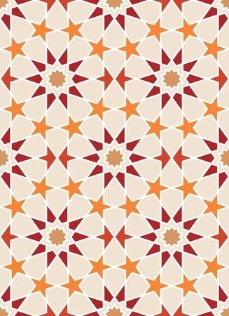 Seamless pattern in Moroccan style. Mosaic tile. Islamic traditional ornament. Geometric background