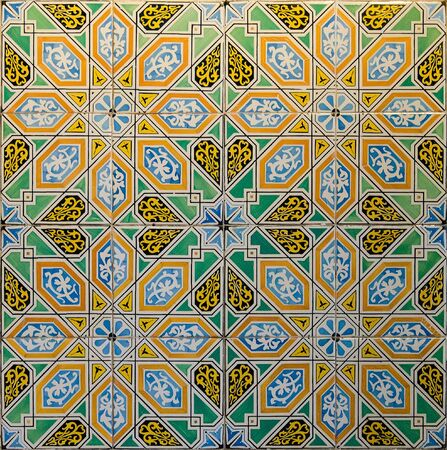 Ceramic tiles with traditional Arabic geometric patterns Stockfoto